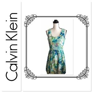 Calvin Klein Floral Print Fit & Flare Dress